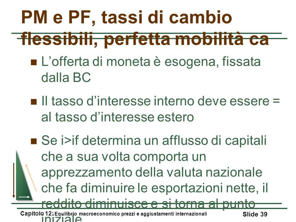 PM e PF, tassi di cambio flessibili, perfetta mobilità ca