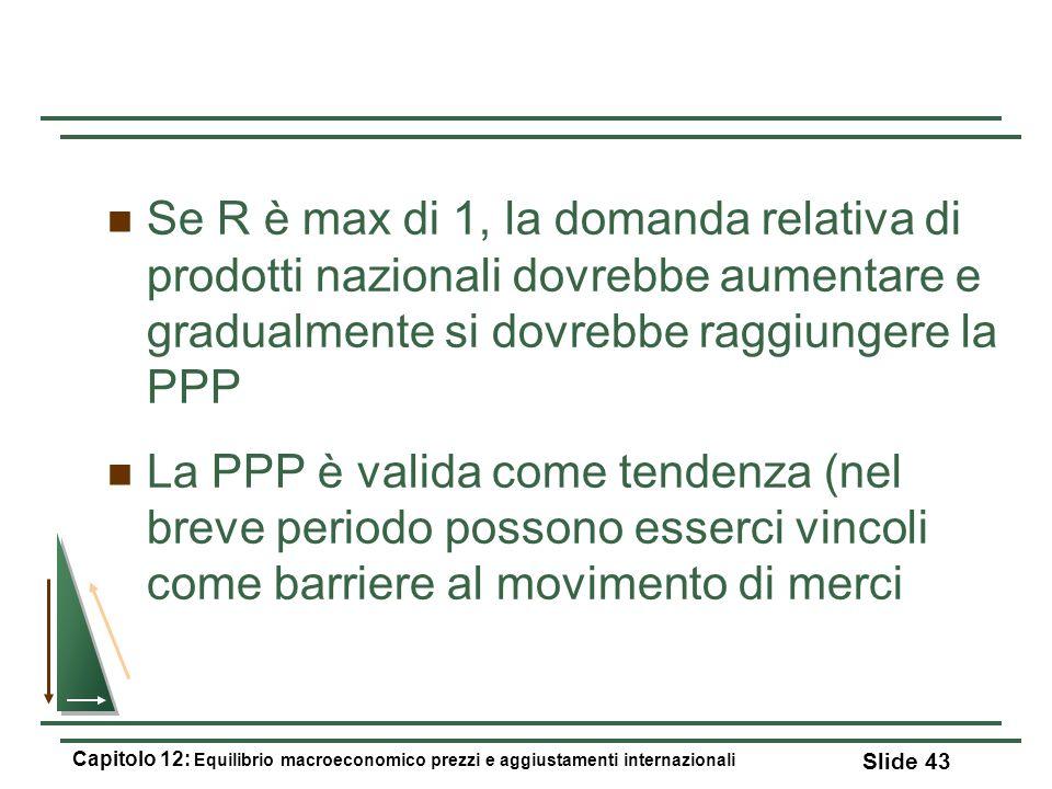 Se R è max di 1, la domanda relativa di prodotti nazionali dovrebbe aumentare e gradualmente si dovrebbe raggiungere la PPP