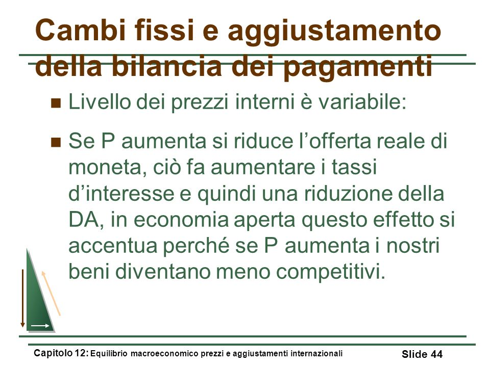 Cambi fissi e aggiustamento della bilancia dei pagamenti