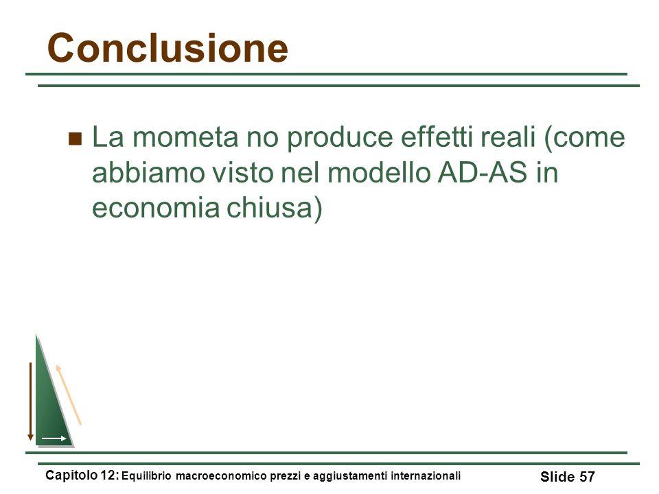 Conclusione La mometa no produce effetti reali (come abbiamo visto nel modello AD-AS in economia chiusa)