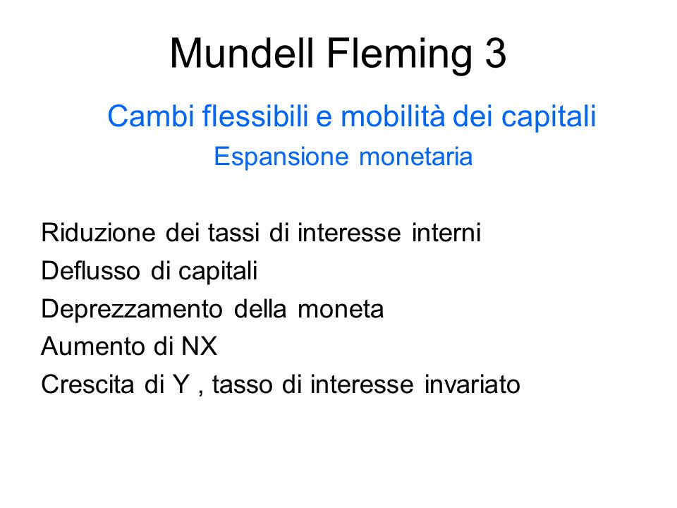 Cambi flessibili e mobilità dei capitali
