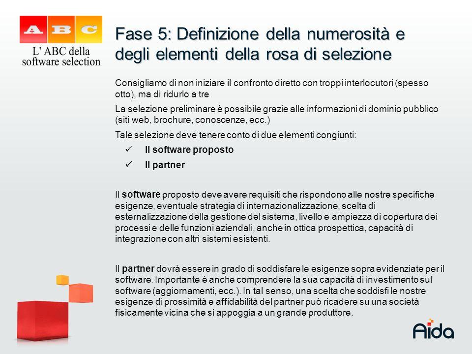 Fase 5: Definizione della numerosità e degli elementi della rosa di selezione