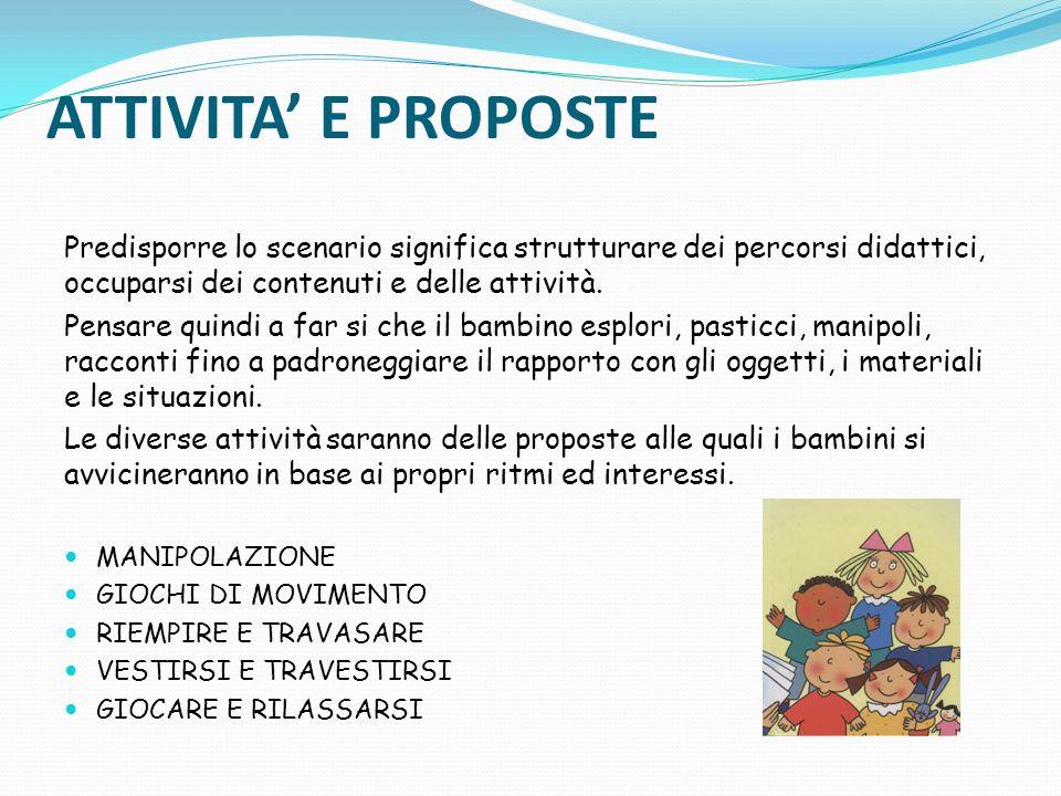 ATTIVITA' E PROPOSTE Predisporre lo scenario significa strutturare dei percorsi didattici, occuparsi dei contenuti e delle attività.