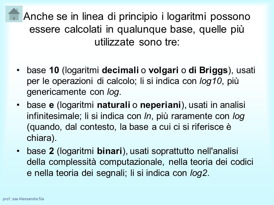 Anche se in linea di principio i logaritmi possono essere calcolati in qualunque base, quelle più utilizzate sono tre: