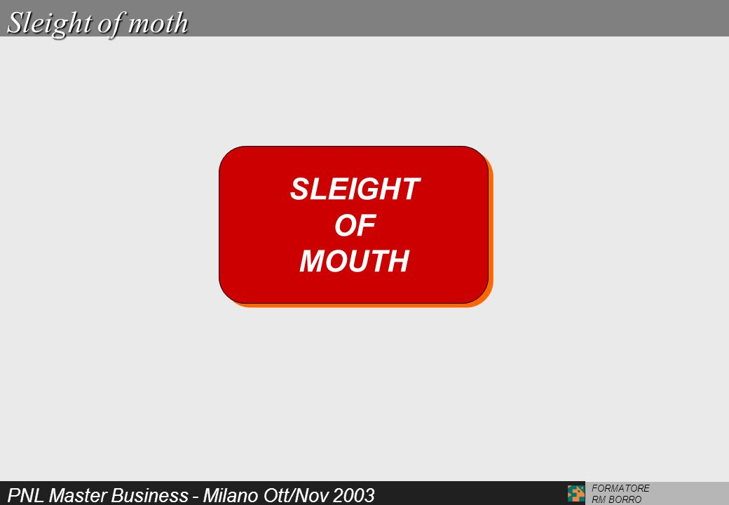 Sleight of moth SLEIGHT OF MOUTH