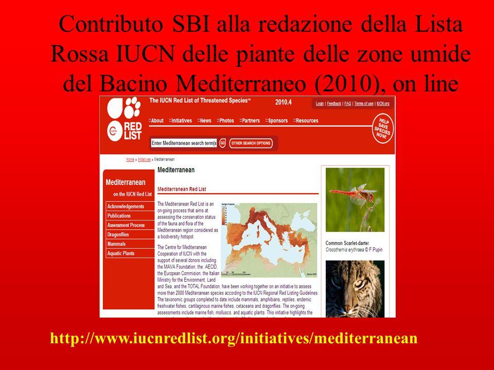 Contributo SBI alla redazione della Lista Rossa IUCN delle piante delle zone umide del Bacino Mediterraneo (2010), on line