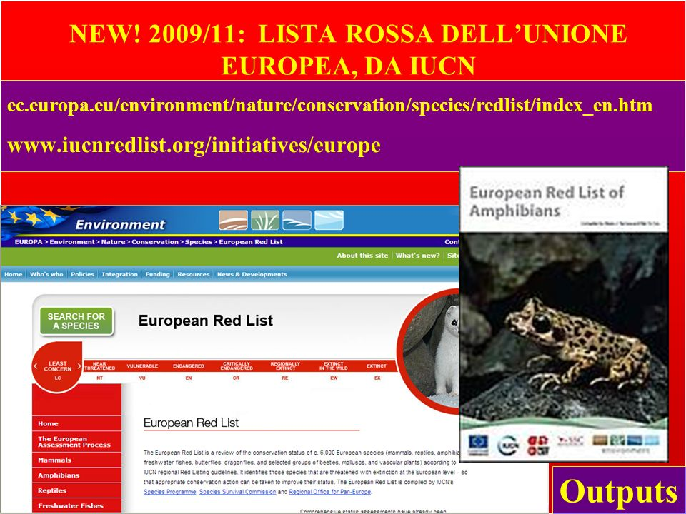 NEW! 2009/11: LISTA ROSSA DELL'UNIONE EUROPEA, DA IUCN