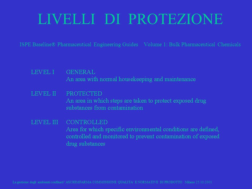 LIVELLI DI PROTEZIONE ISPE Baseline® Pharmaceutical Engineering Guides Volume 1: Bulk Pharmaceutical Chemicals