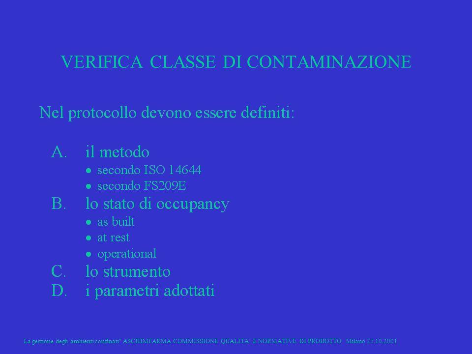 VERIFICA CLASSE DI CONTAMINAZIONE