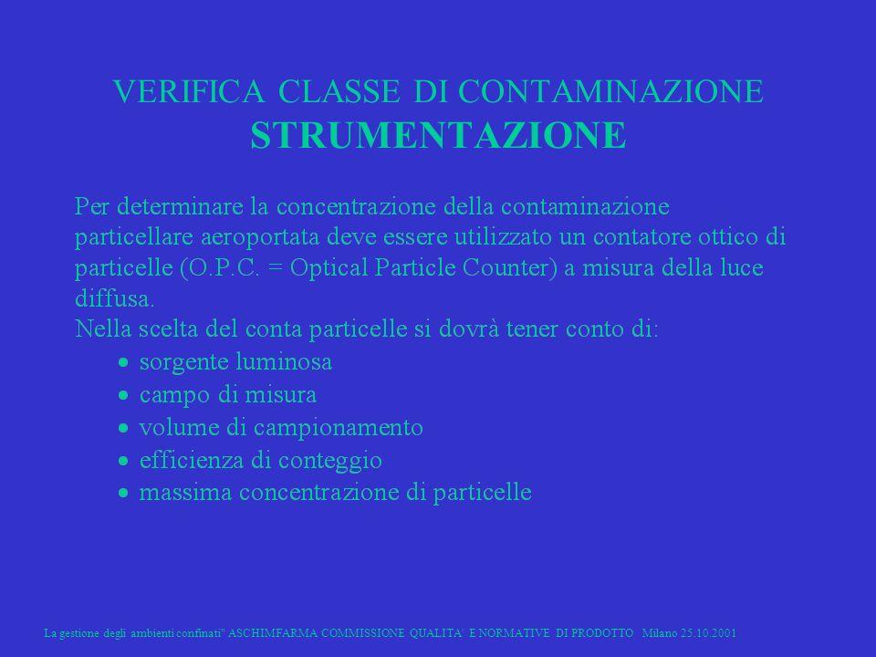 VERIFICA CLASSE DI CONTAMINAZIONE STRUMENTAZIONE