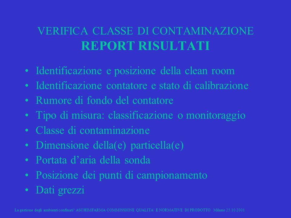 VERIFICA CLASSE DI CONTAMINAZIONE REPORT RISULTATI