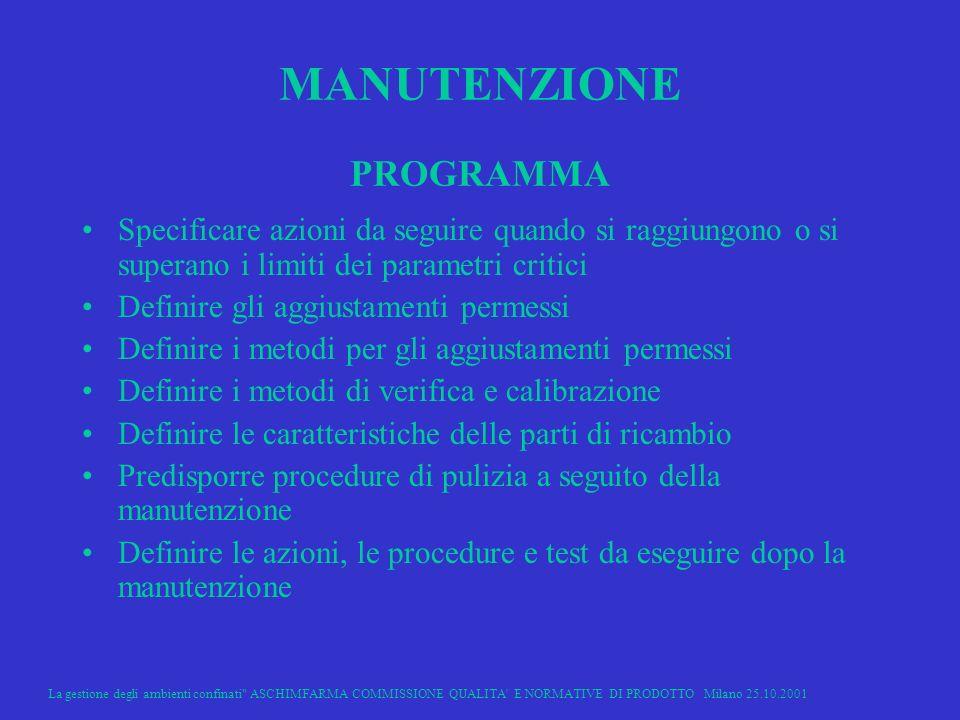 MANUTENZIONE PROGRAMMA