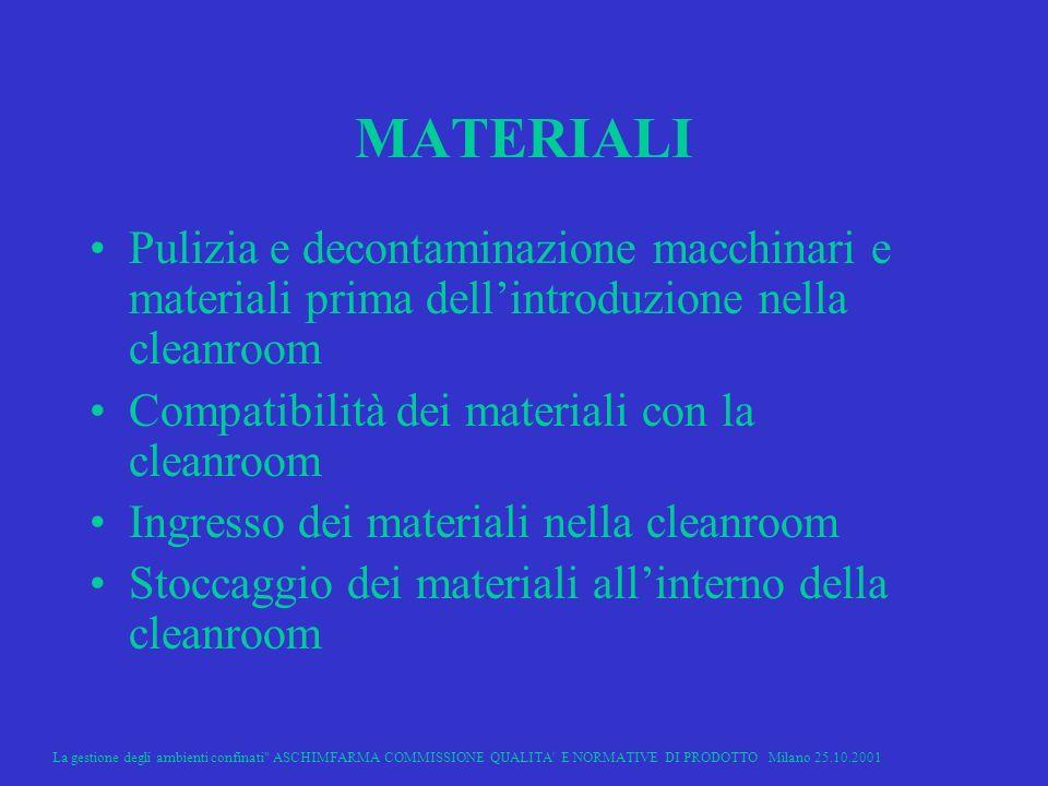 MATERIALI Pulizia e decontaminazione macchinari e materiali prima dell'introduzione nella cleanroom.