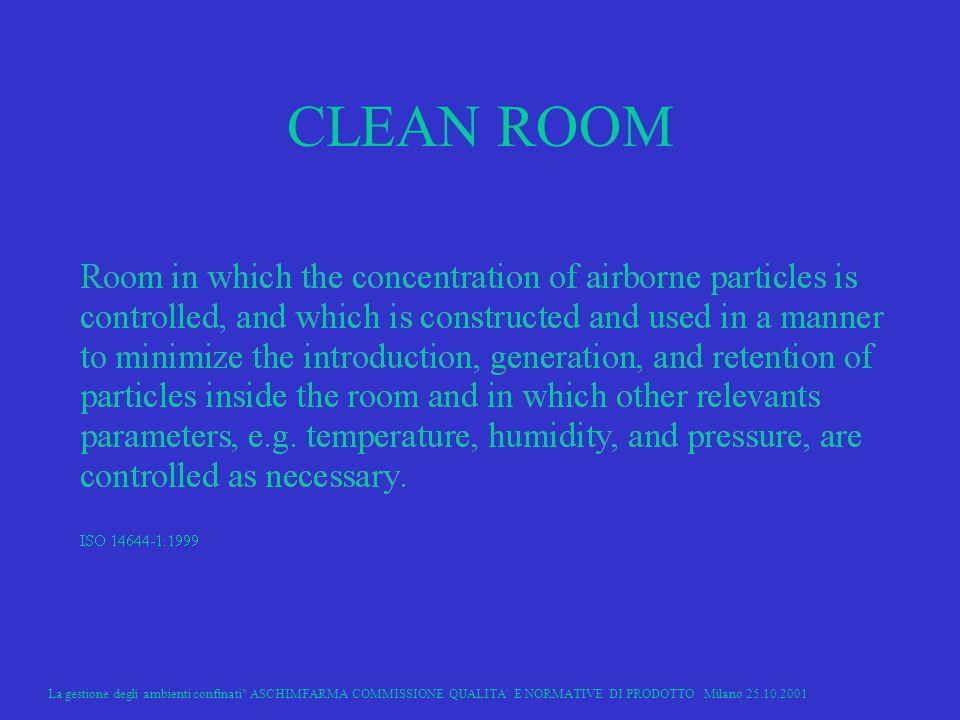 CLEAN ROOM La gestione degli ambienti confinati ASCHIMFARMA COMMISSIONE QUALITA E NORMATIVE DI PRODOTTO Milano 25.10.2001.