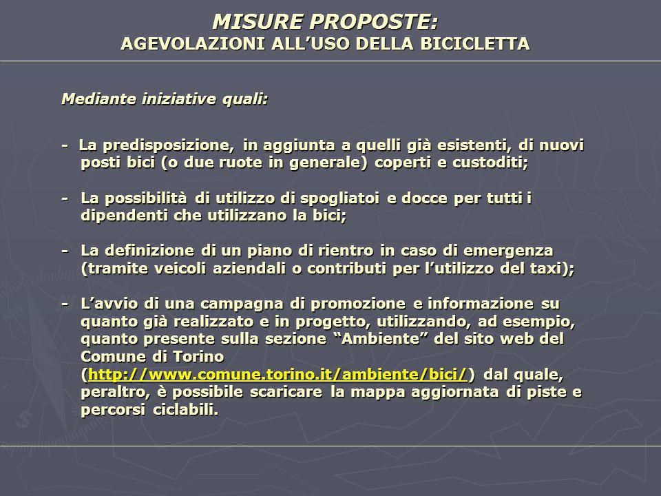 MISURE PROPOSTE: AGEVOLAZIONI ALL'USO DELLA BICICLETTA