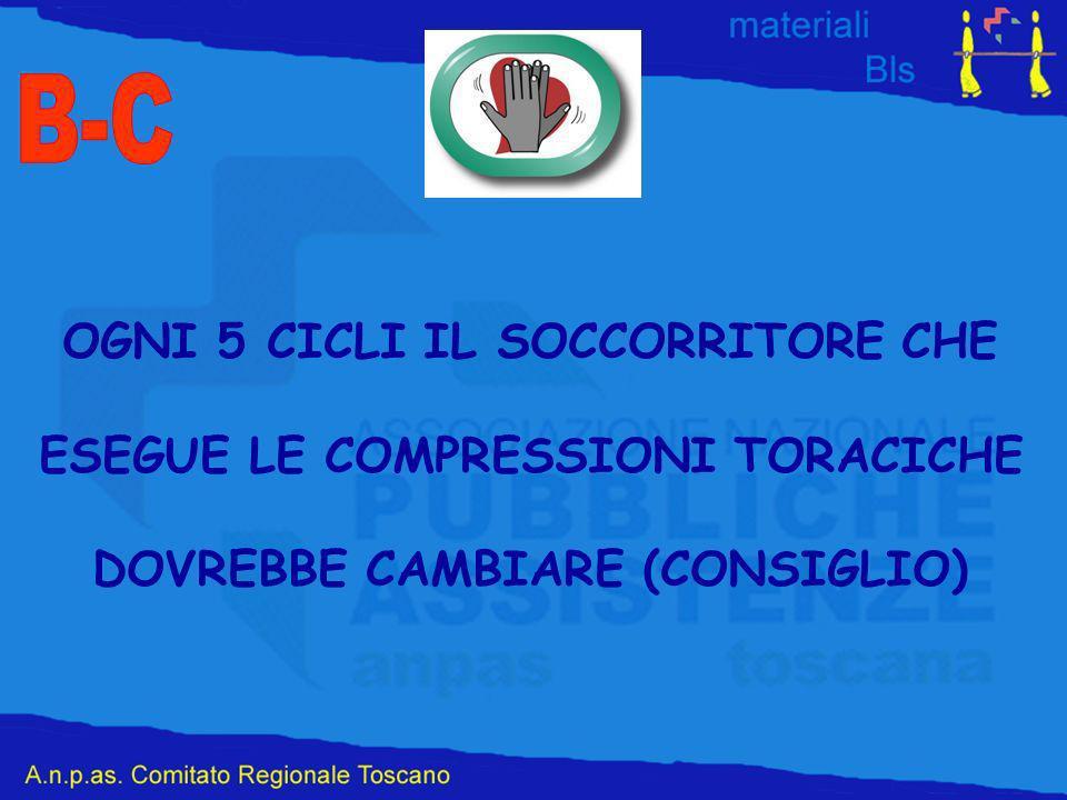 B-C OGNI 5 CICLI IL SOCCORRITORE CHE ESEGUE LE COMPRESSIONI TORACICHE
