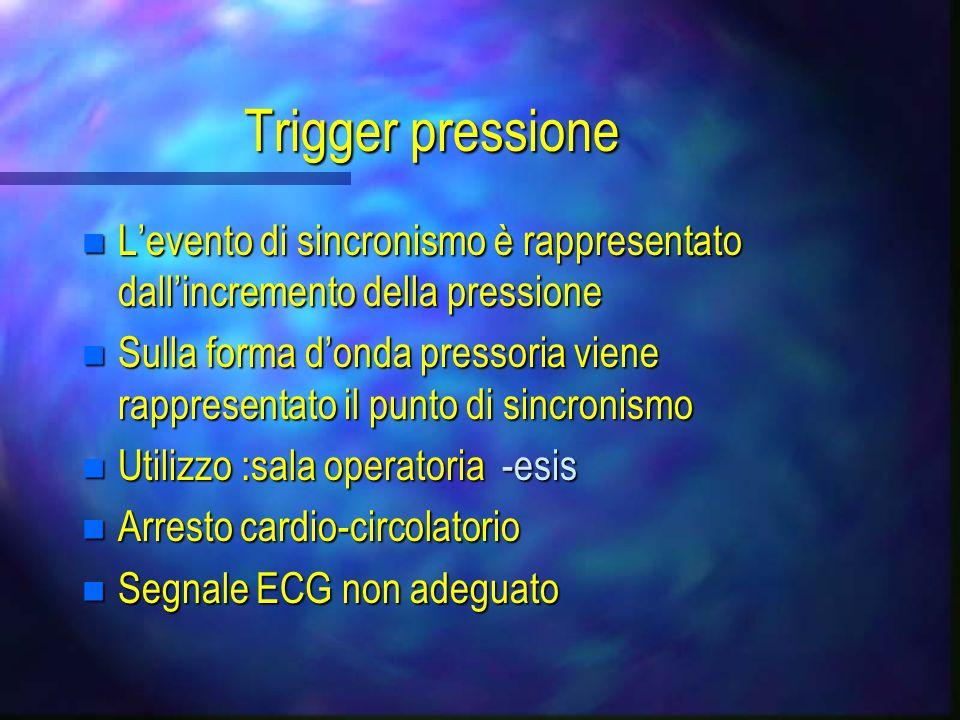 Trigger pressione L'evento di sincronismo è rappresentato dall'incremento della pressione.