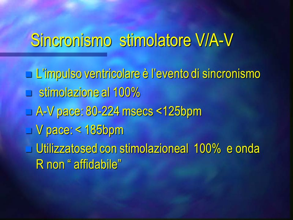 Sincronismo stimolatore V/A-V