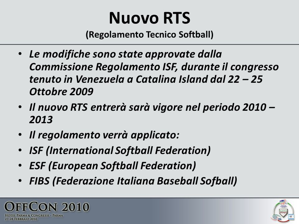 Nuovo RTS (Regolamento Tecnico Softball)
