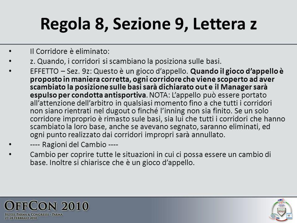 Regola 8, Sezione 9, Lettera z
