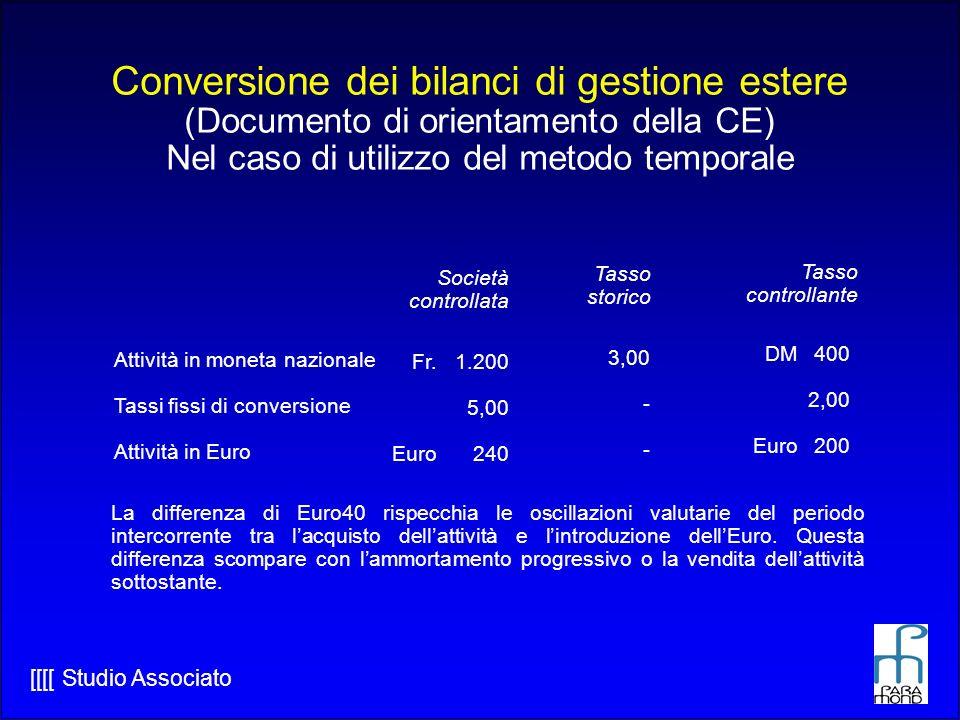 Conversione dei bilanci di gestione estere (Documento di orientamento della CE) Nel caso di utilizzo del metodo temporale