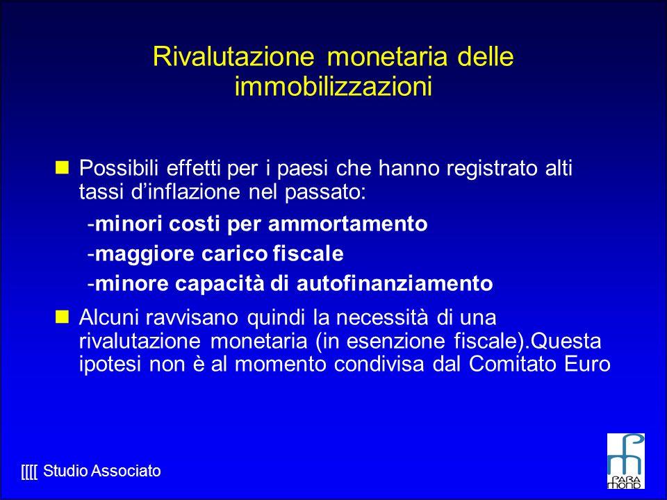 Rivalutazione monetaria delle immobilizzazioni