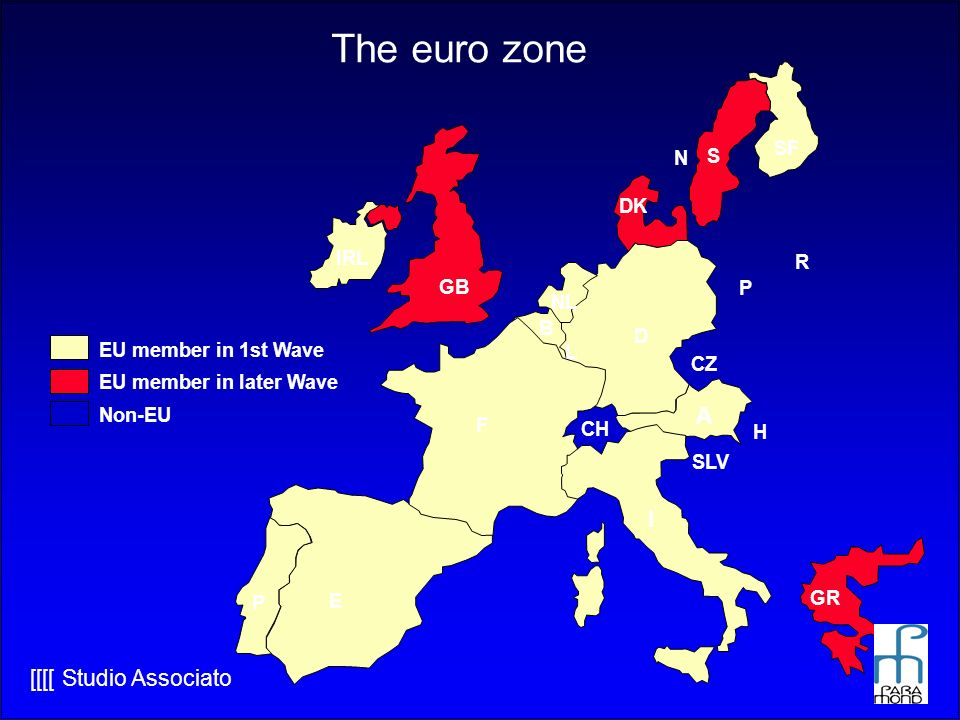 The euro zone A I SF N S DK IRL R GB P NL B D EU member in 1st Wave L
