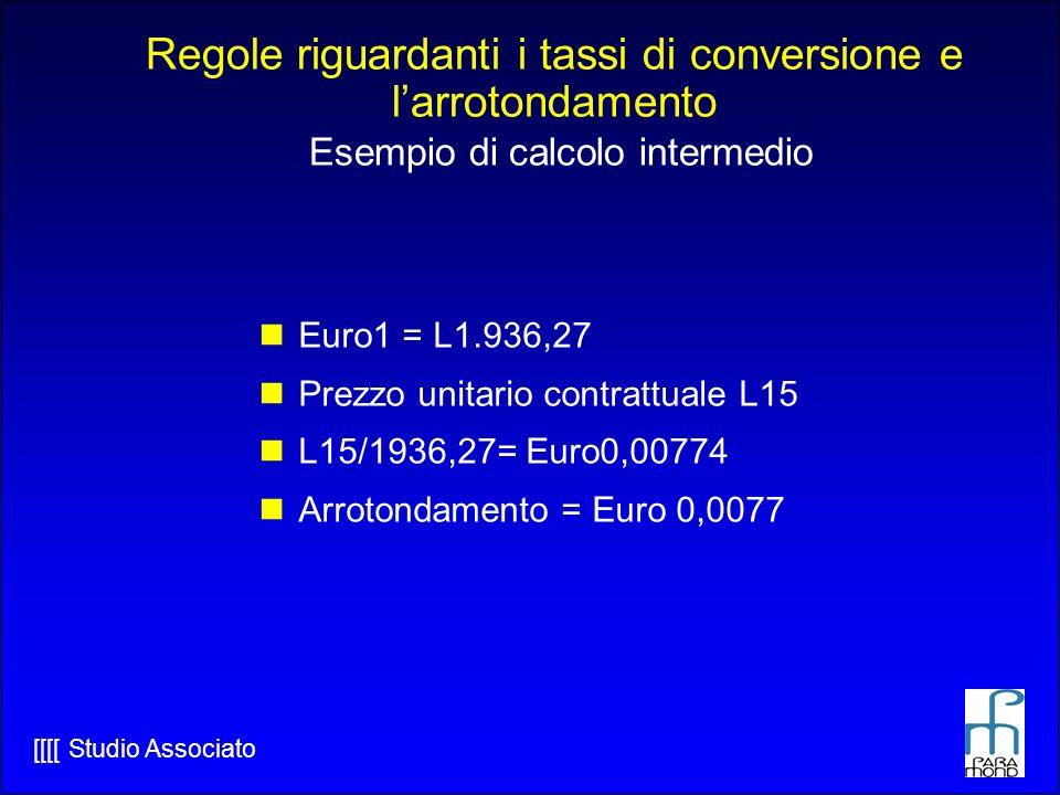 Regole riguardanti i tassi di conversione e l'arrotondamento Esempio di calcolo intermedio