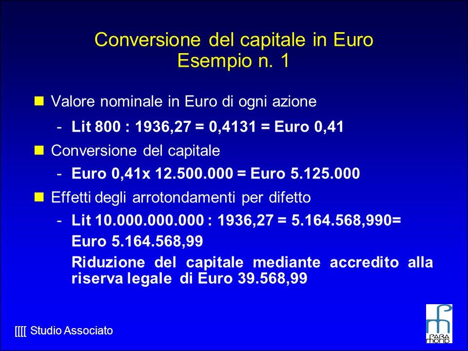 Conversione del capitale in Euro Esempio n. 1