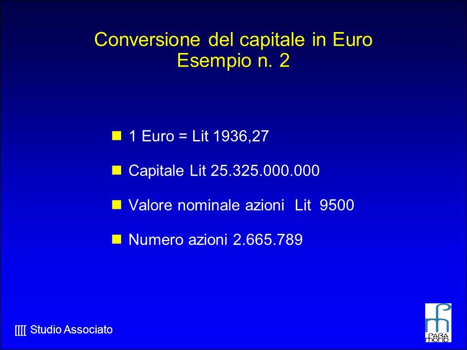 Conversione del capitale in Euro Esempio n. 2