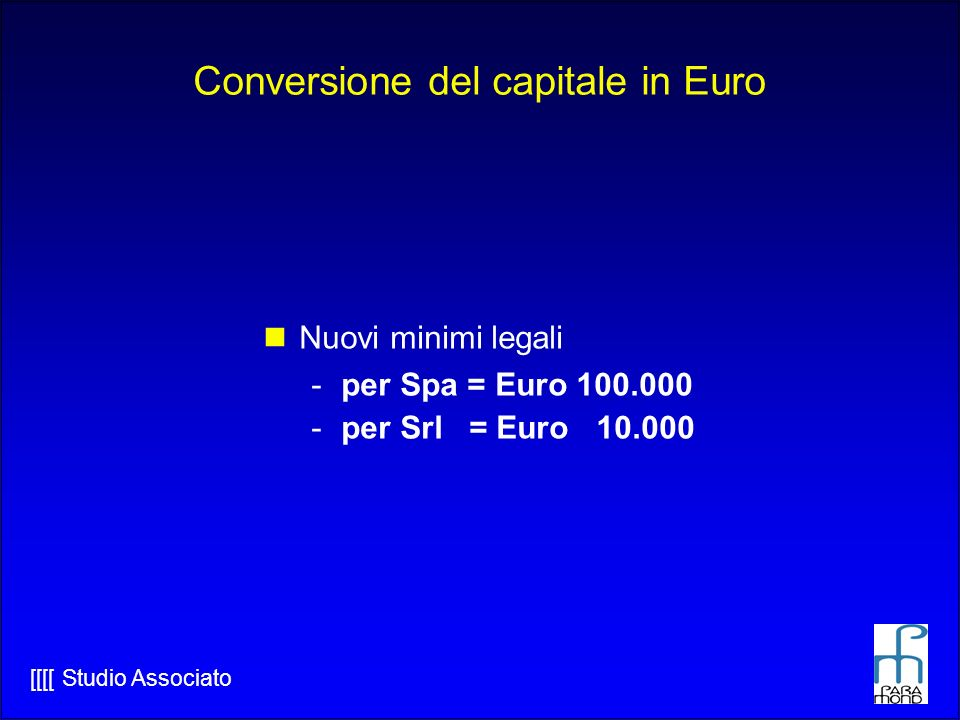 Conversione del capitale in Euro