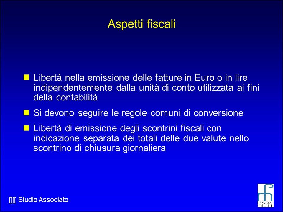 Aspetti fiscali Libertà nella emissione delle fatture in Euro o in lire indipendentemente dalla unità di conto utilizzata ai fini della contabilità.