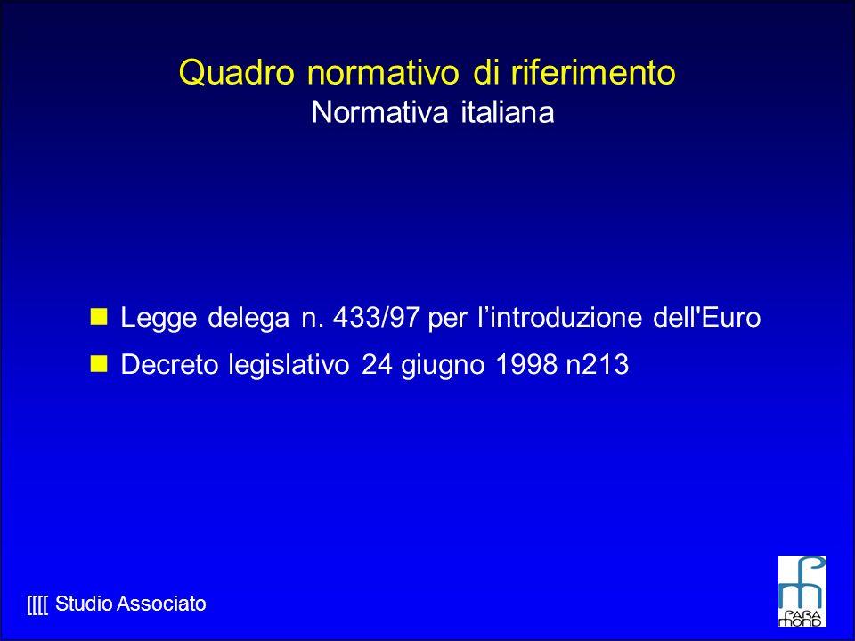 Quadro normativo di riferimento Normativa italiana