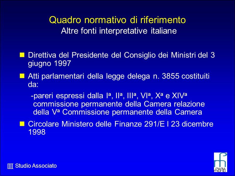 Quadro normativo di riferimento Altre fonti interpretative italiane