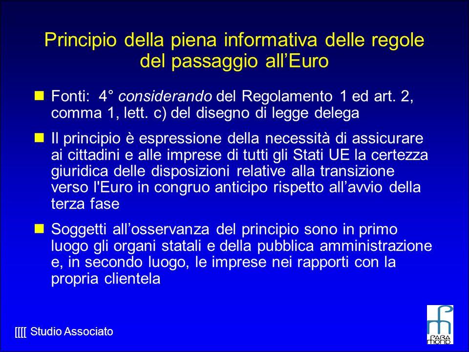 Principio della piena informativa delle regole del passaggio all'Euro