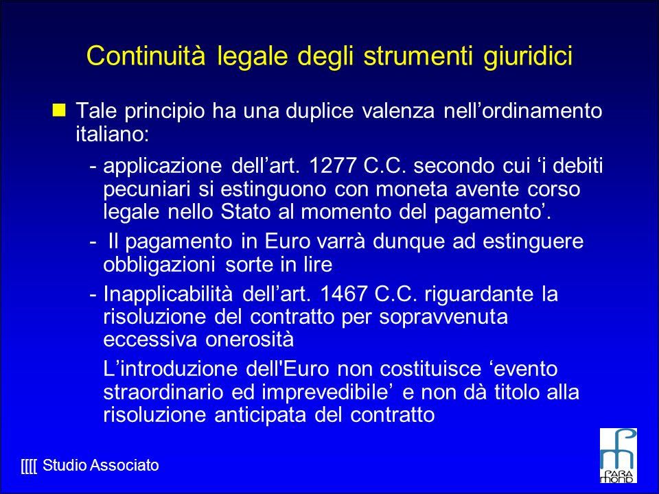 Continuità legale degli strumenti giuridici
