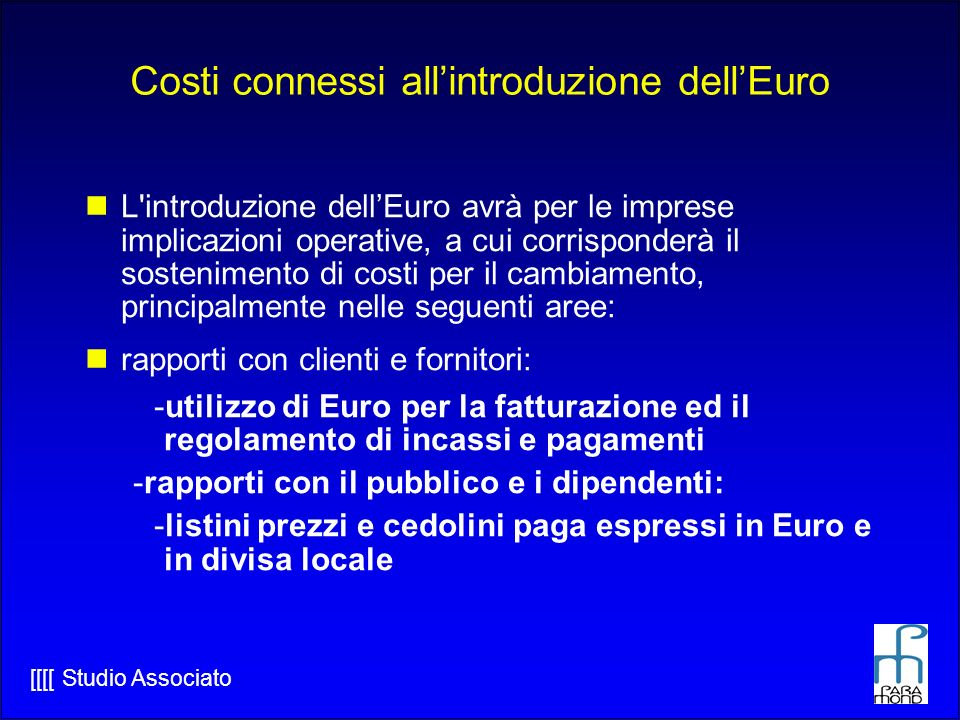 Costi connessi all'introduzione dell'Euro
