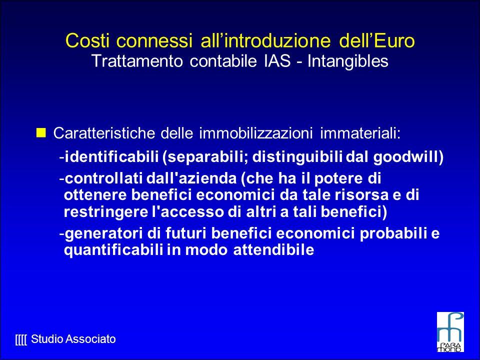 Costi connessi all'introduzione dell'Euro Trattamento contabile IAS - Intangibles