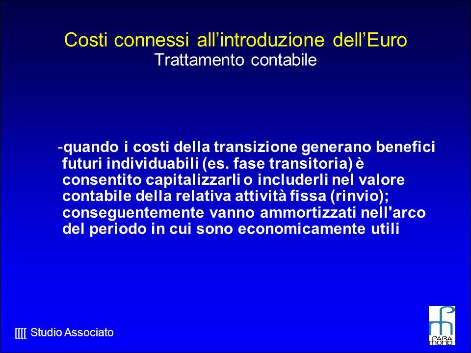 Costi connessi all'introduzione dell'Euro Trattamento contabile