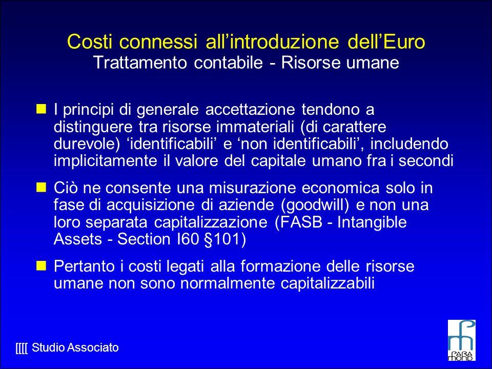 Costi connessi all'introduzione dell'Euro Trattamento contabile - Risorse umane