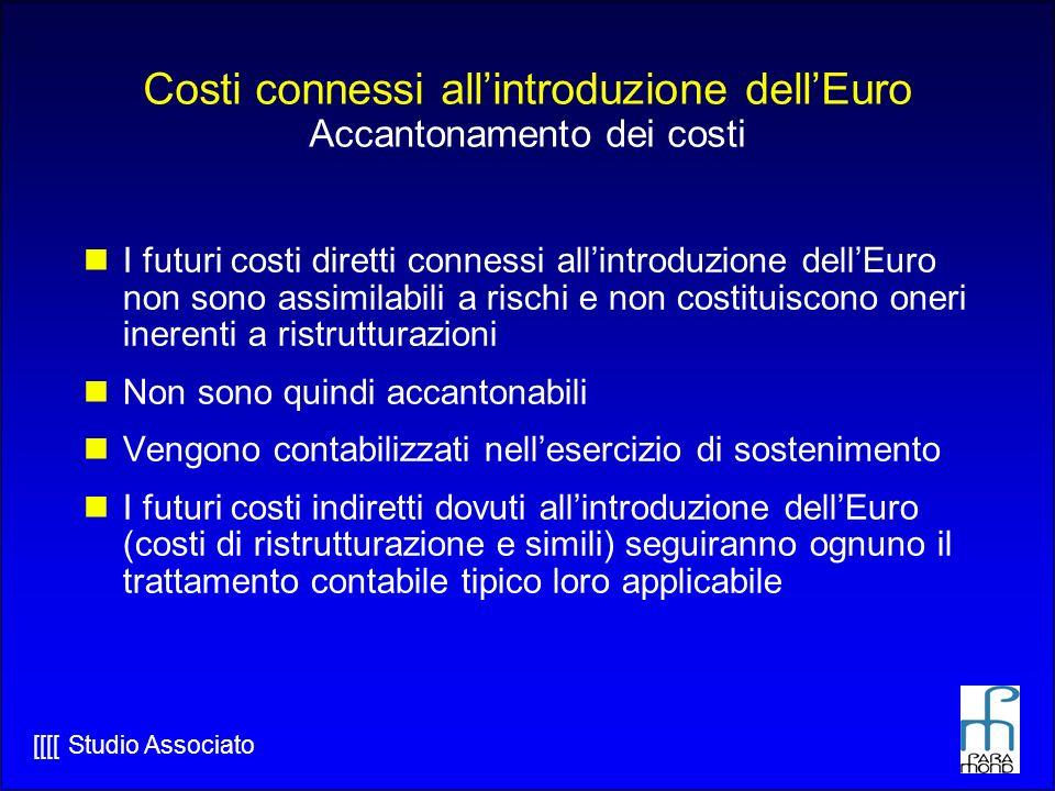 Costi connessi all'introduzione dell'Euro Accantonamento dei costi
