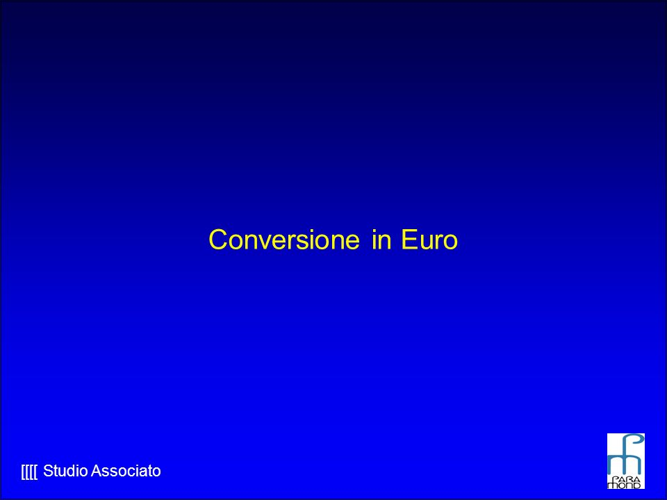 Conversione in Euro