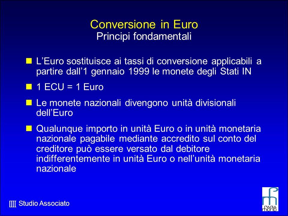 Conversione in Euro Principi fondamentali