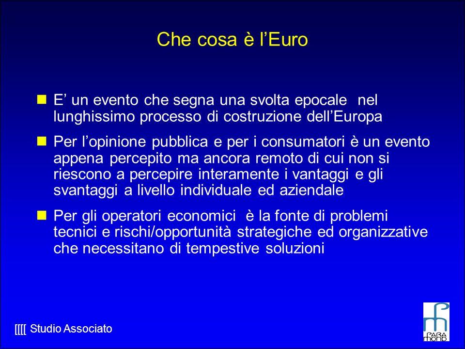 Che cosa è l'Euro E' un evento che segna una svolta epocale nel lunghissimo processo di costruzione dell'Europa.