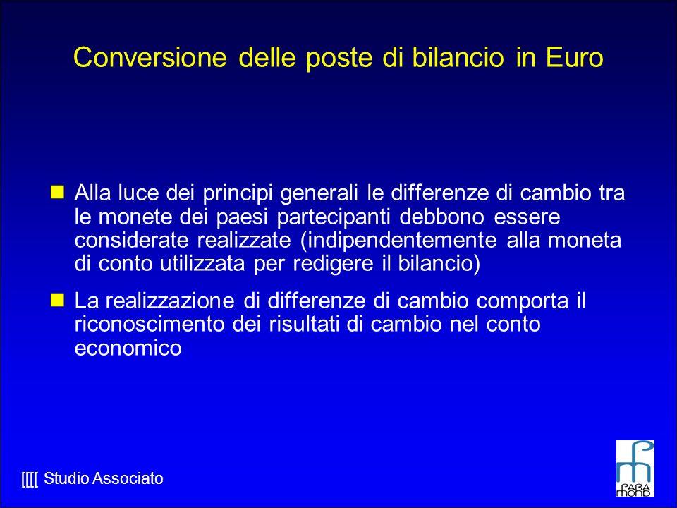 Conversione delle poste di bilancio in Euro