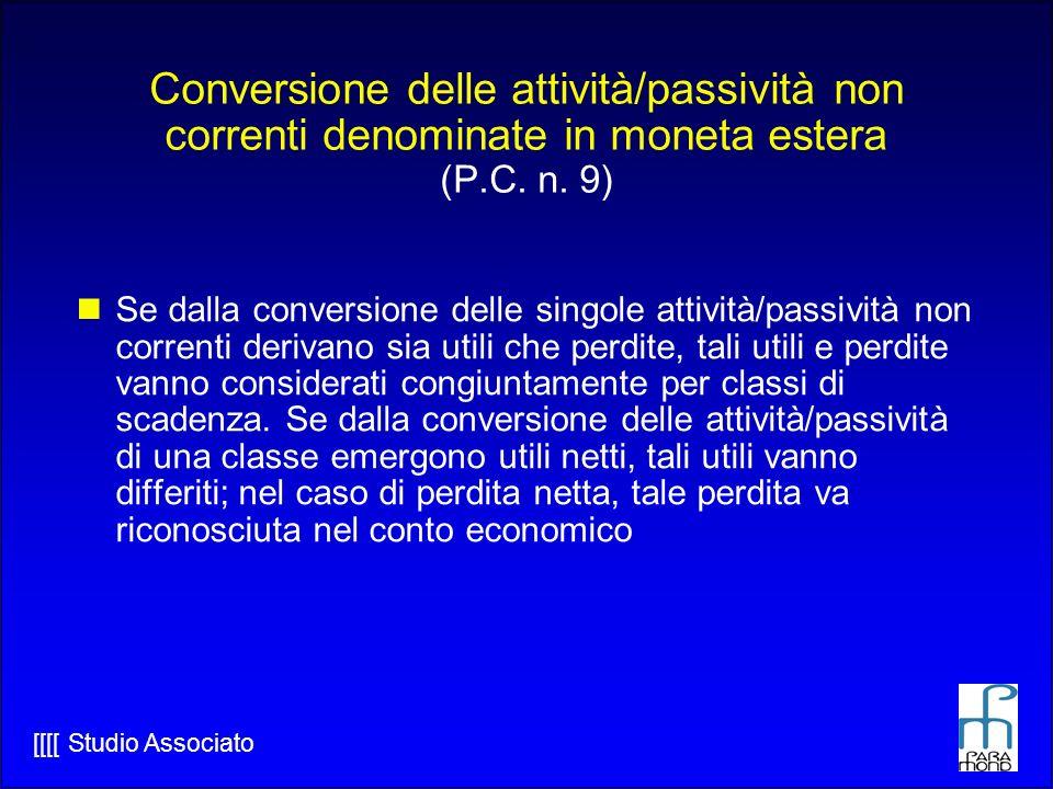 Conversione delle attività/passività non correnti denominate in moneta estera (P.C. n. 9)