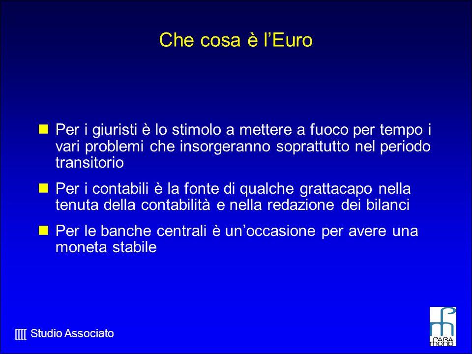 Che cosa è l'Euro Per i giuristi è lo stimolo a mettere a fuoco per tempo i vari problemi che insorgeranno soprattutto nel periodo transitorio.