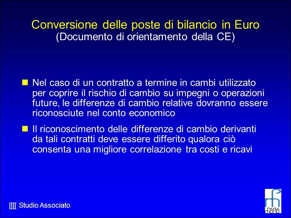 Conversione delle poste di bilancio in Euro (Documento di orientamento della CE)