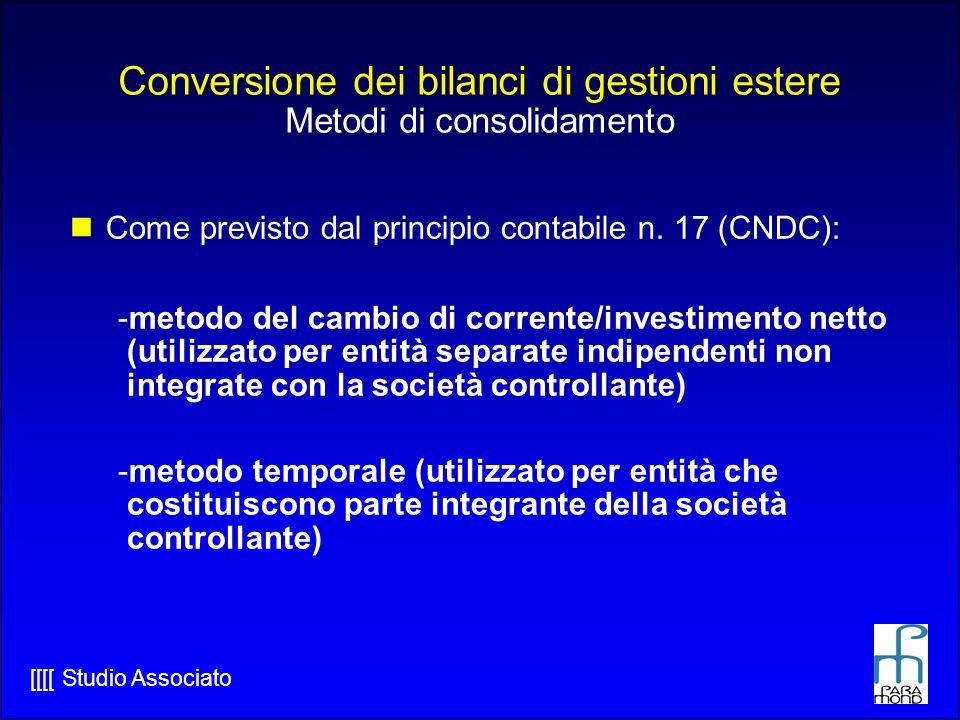 Conversione dei bilanci di gestioni estere Metodi di consolidamento