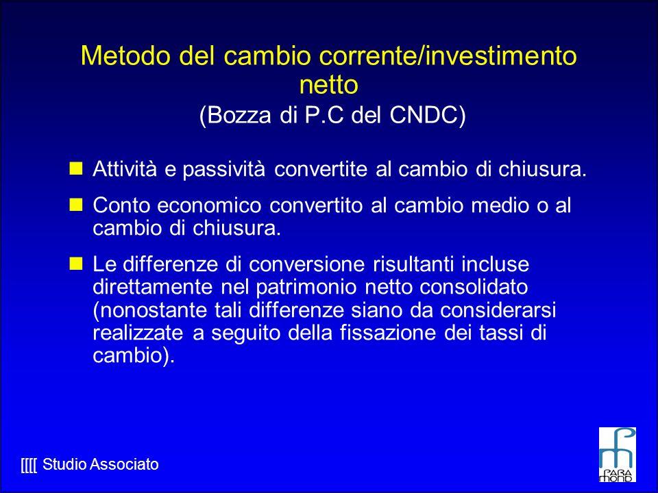 Metodo del cambio corrente/investimento netto (Bozza di P.C del CNDC)